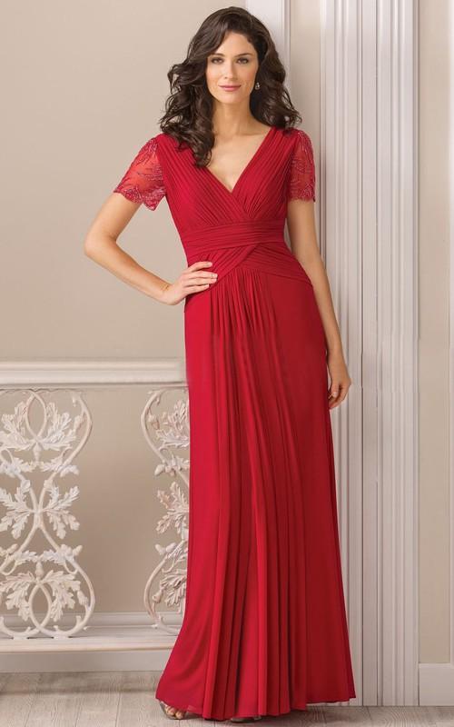 V-neck Short Sleeve Chiffon Floor-length Dress With Beading And Pleats