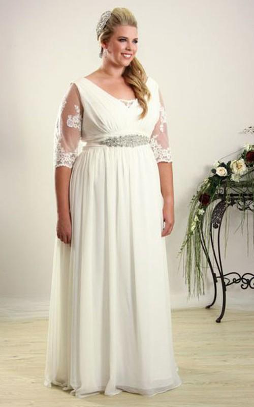 Chiffon Illusion Half Sleeve Long plus size Wedding Dress With Embellished Waist