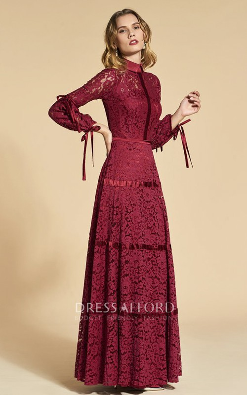 Vintage Lace 3/4 Sleeve High Neck Sheath Dress With Bows Appliqued