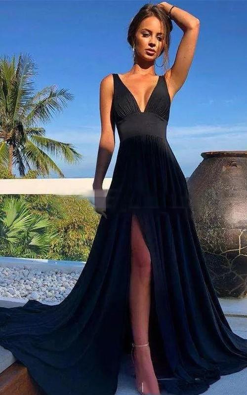 Informal V-neck Sleeveless Jersey A-Line Dress