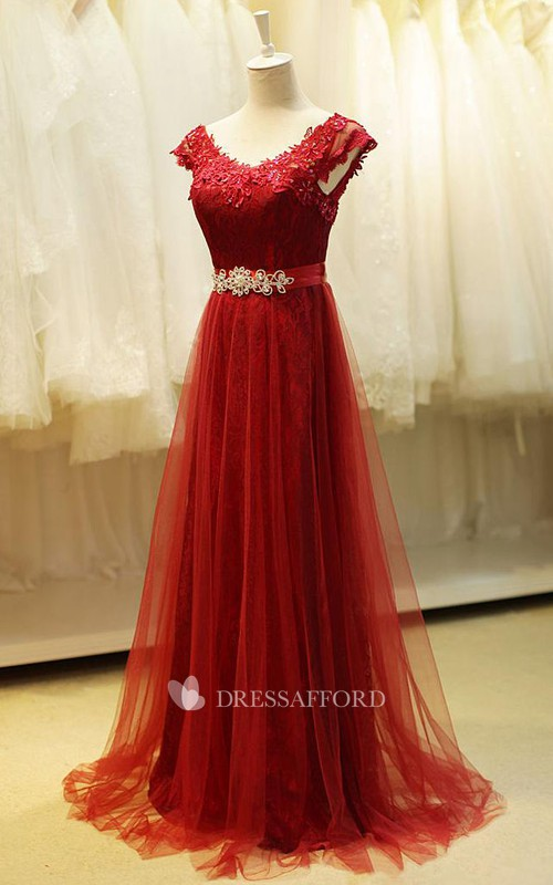 V-neck A-line Dress with Beadings and Tulle Detail