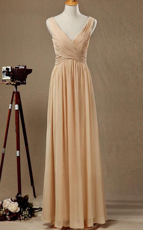 Chiffon Low-V Back V-Neckline Long Satin Dress