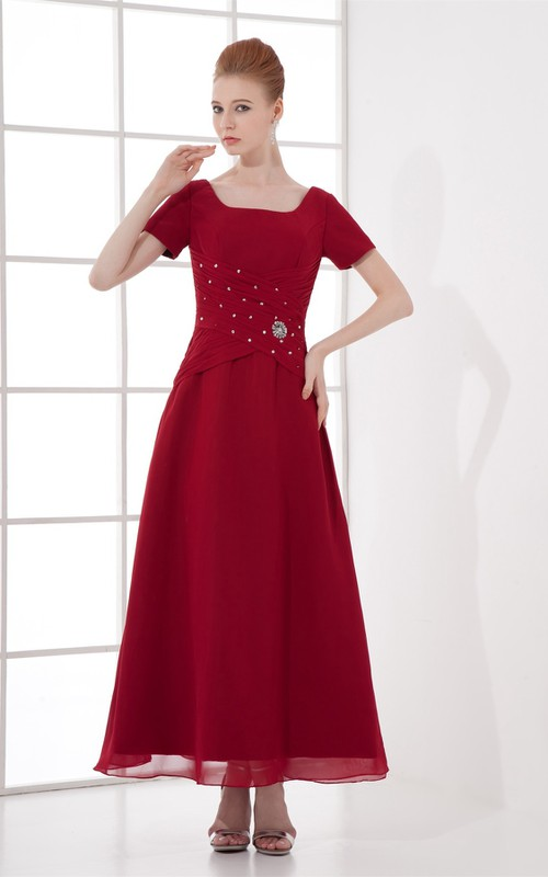 Broach Ruched Ankle-Length Bateau-Neckline Gown