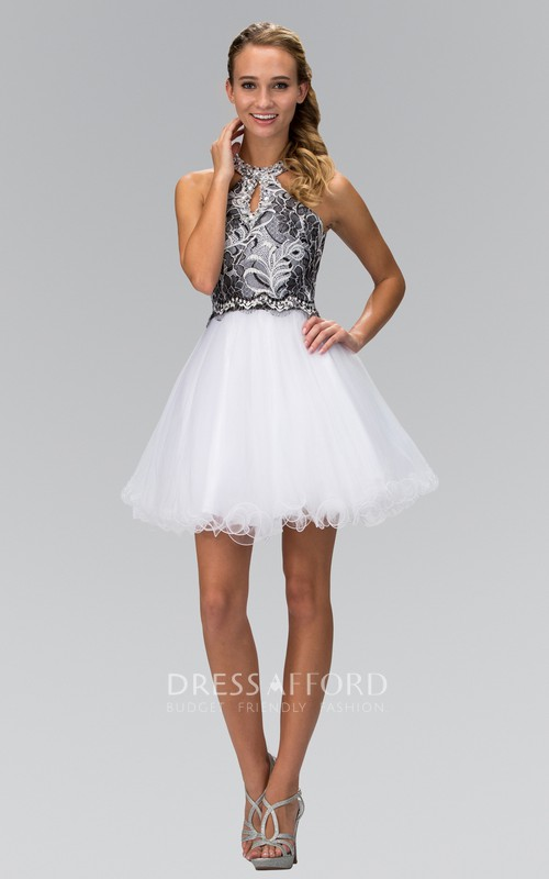 A-Line Short Jewel-Neck Sleeveless Tulle Keyhole Dress With Appliques And Embroidery