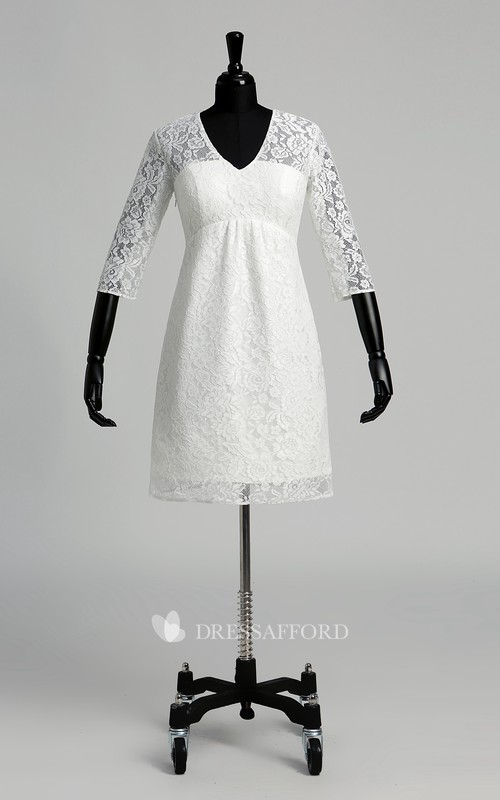 A-line Lace V-neck Knee-length 3/4 Length Sleeve Ruched Wedding Dress