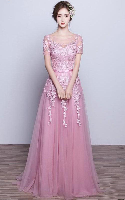 Long Appliqued A-Line Short-Sleeve Tulle Dress