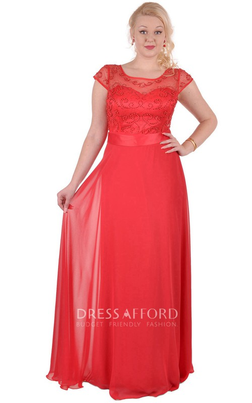 Short-Sleeve Satin-Ribbon Scoop-Neck High-Waist Illusion Chiffon Dress