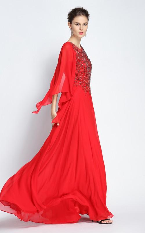 Floor-length A-Line Jewel Long Sleeve Chiffon Prom Dress with Beading and Pleats