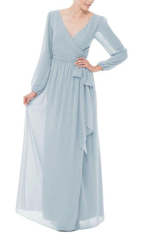 Chiffon Bow V-Neckline Long-Sleeve Long Dress