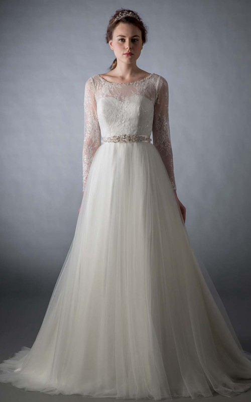 ethereal Long Sleeve Illusion Tulle A-line Wedding Dress With Beading And Lace