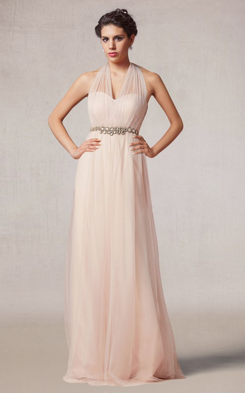 Tulle Haltered Floor-length Dress With Jeweled Waist