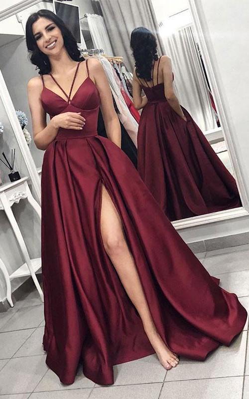 Spaghetti Satin Sleeveless Floor-length Straps Evening Dress with Pockets and Ruffles