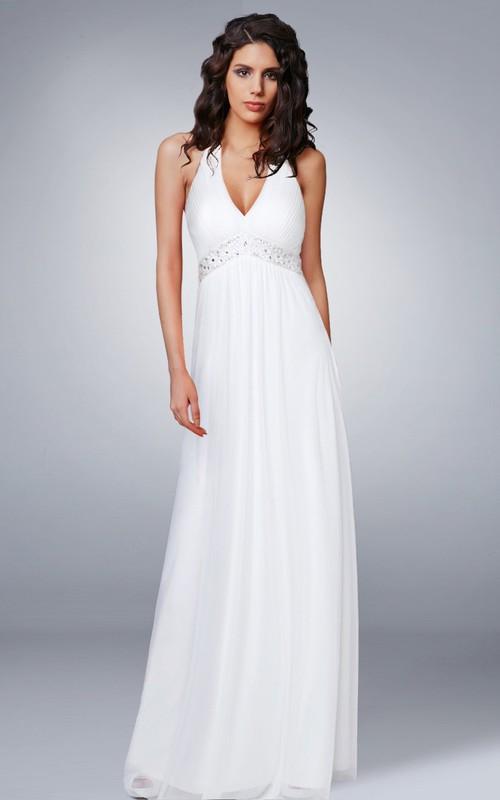 Haltered V-neck Sleeveless Empire Dress With Ruching And Jeweled Waist