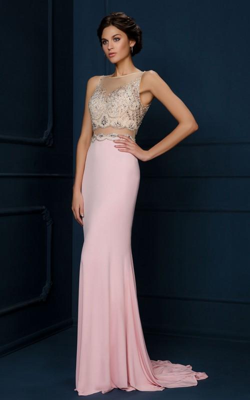 Bateau Sleeveless Jersey Prom Dress With Beading And Illusion