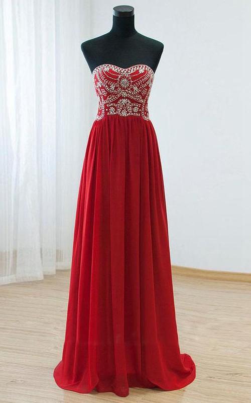 Sweetheart Chiffon A-Line Long Rhinestone Sleeveless Gown
