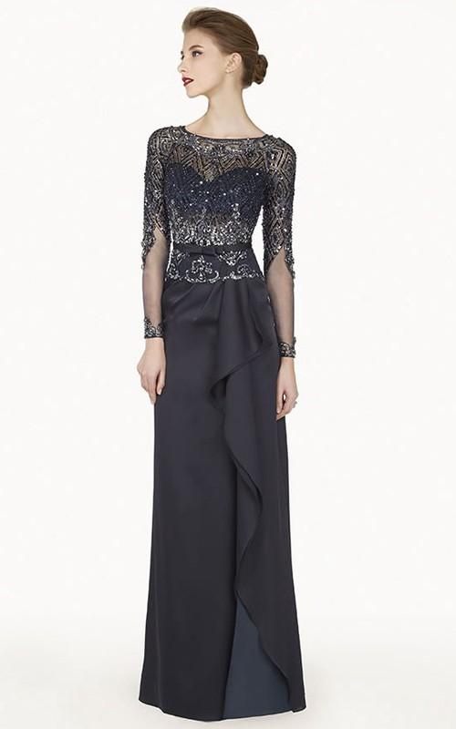 Bateau Illusion Long Sleeve Chiffon Long Prom Dress With Cascading Skirt