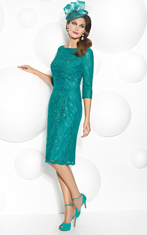 3-4-sleeve Pencil short Lace Mother of the Bride Dress With Low-V Back