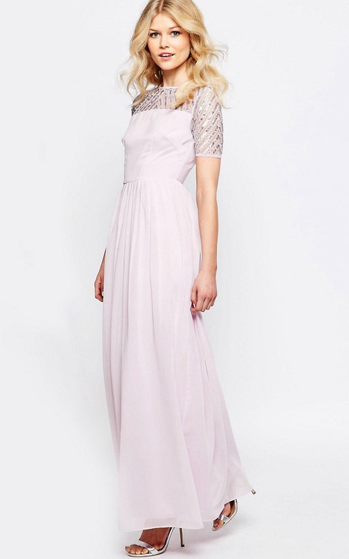 Short Sleeve Chiffon Ankle-length Dress With Sequins