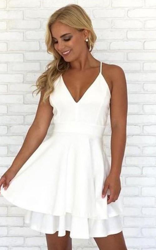 Sleeveless A-line Short Mini Spaghetti V-neck Lace Tiers Chiffon Homecoming Dress
