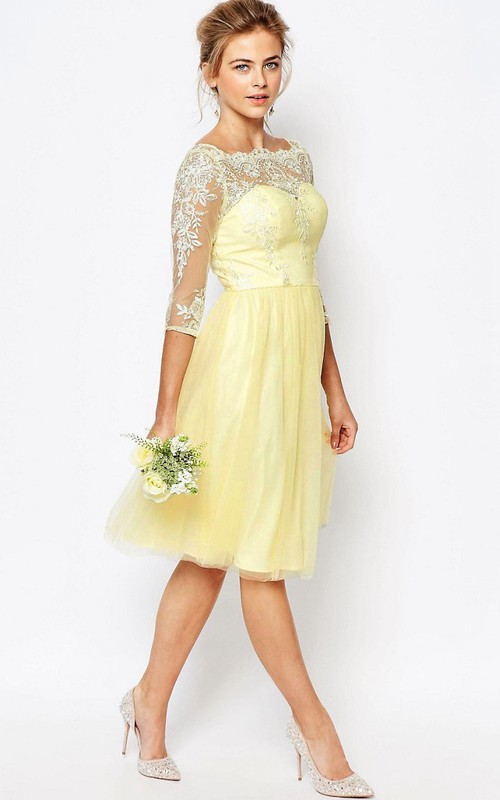 Bateau 3-4-sleeve Knee-length Dress With Illusion And Appliques