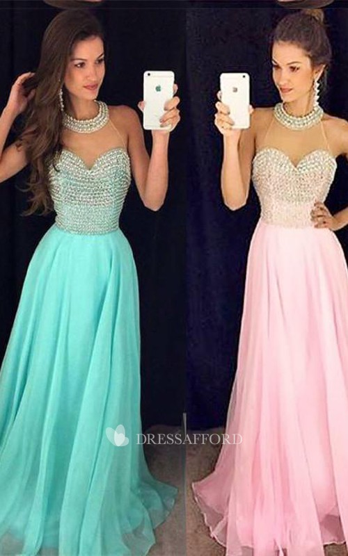 Long Chiffon Sleeveless Party Beads Timeless Gown