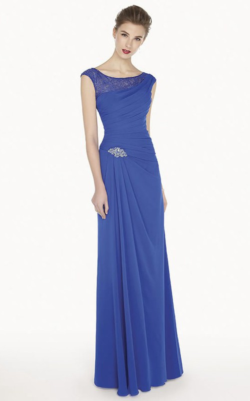 Bateau Cap-sleeve Jersey Sheath Dress With Lace And Draping