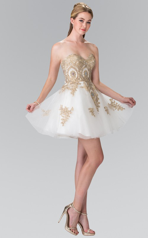 A-Line Short Sweetheart Sleeveless Tulle Lace-Up Dress With Beading