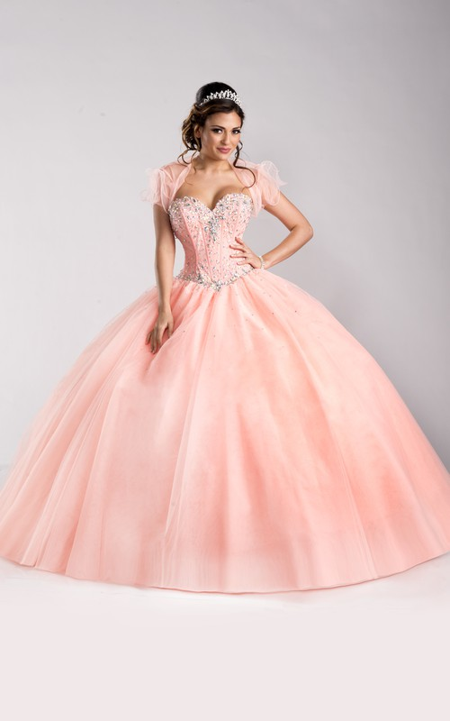 Sweetheart caped Ball Gown Quinceanera Dress With Beading And Corset Back