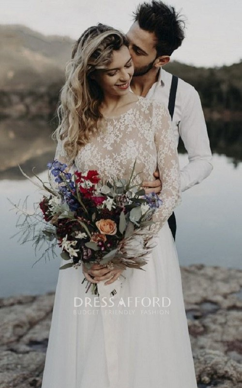 Elegant Lace Long Sleeve Tulle Bridal Gown With Keyhole And Ruching