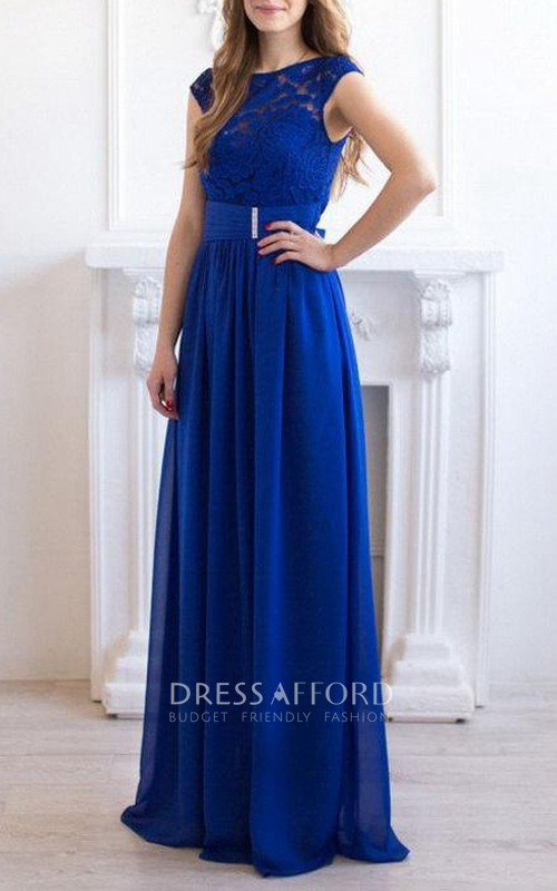 Scoop-neck Cap-sleeve A-line Floor-length Chiffon Dress With Lace top