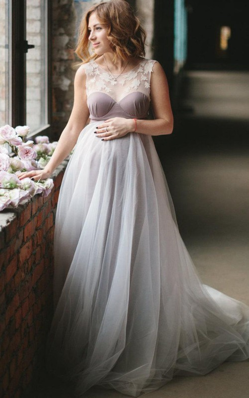 Scoop-neck Sleeveless Tulle maternity Dress With Appliques And Court Train