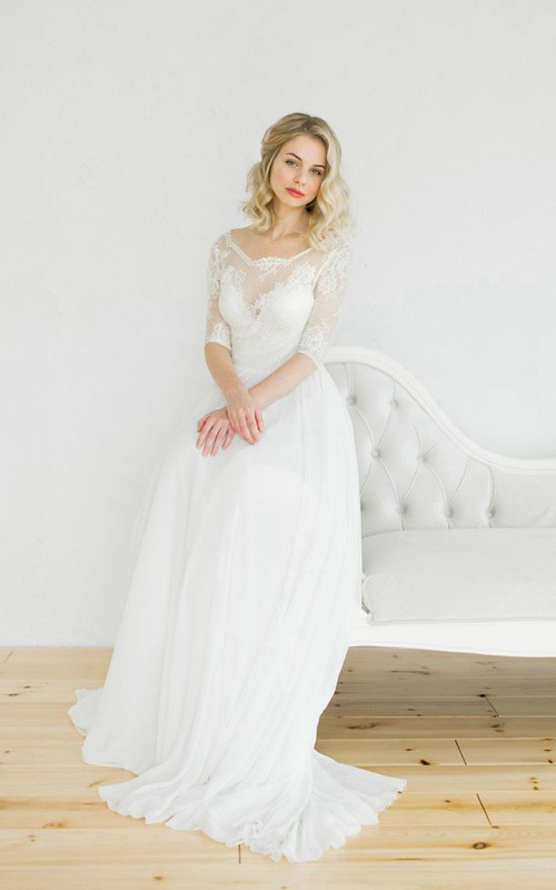 Scoop-neck Lace Half Sleeve Chiffon Wedding Dress With Low-V Back