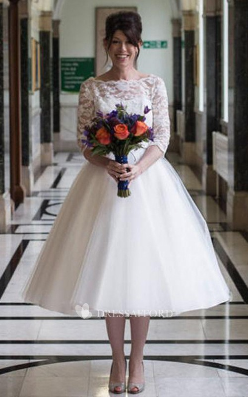 Keyhole Lace Half-Sleeve Short-Midi Tulle Gown