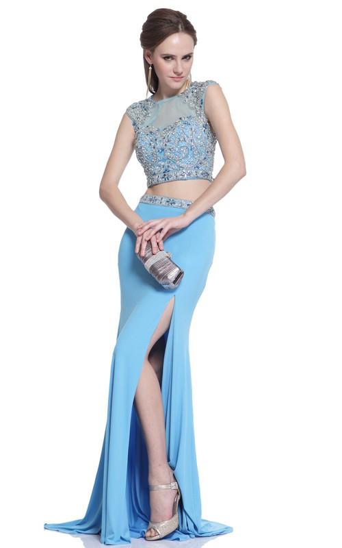 2-Piece Keyhole Jeweled Split Front Column Long Cap-Sleeve Scoop-Neck Jersey Dress