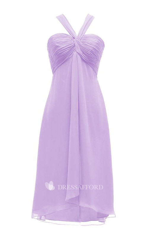 casual short Strapped Bridesmaid Dress With Ruching