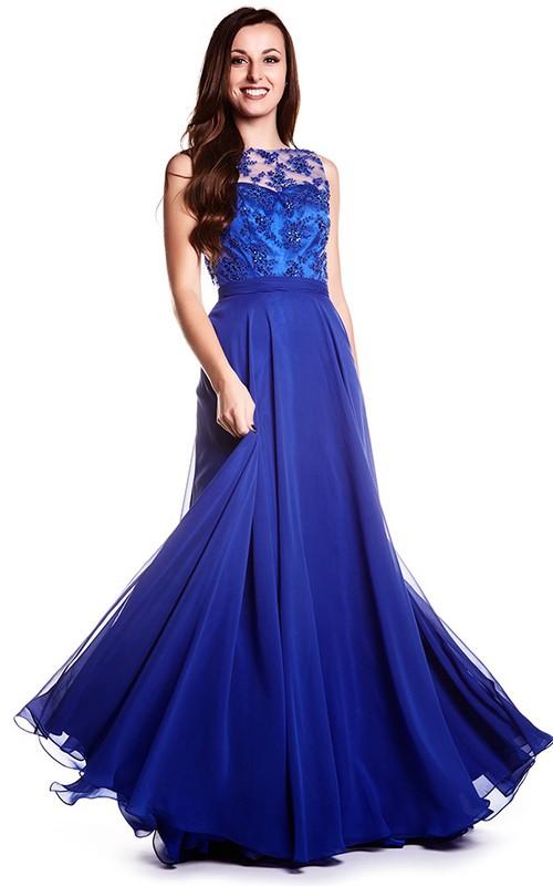 Sheath Sleeveless Jewel Neck Appliqued Chiffon Prom Dress