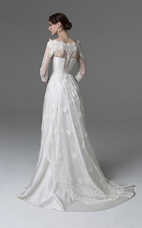 Satin Bateau Neckline Lace-Overlaying Unique Bridal Dress