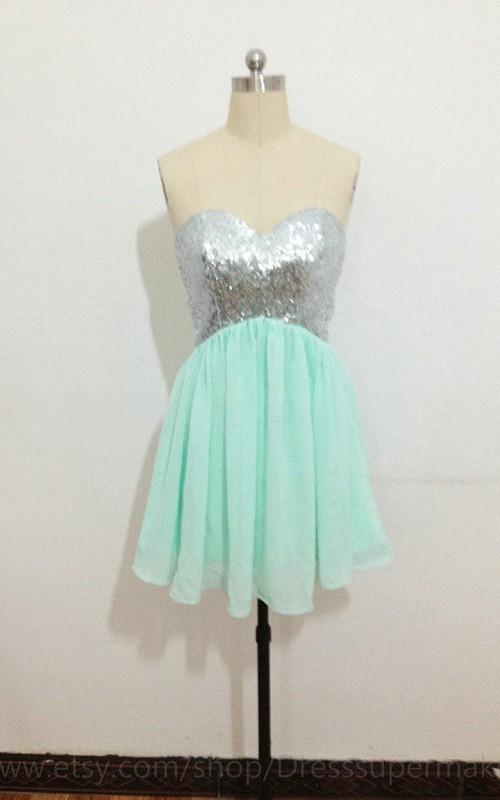 Mini Chiffon Dress With Sequins