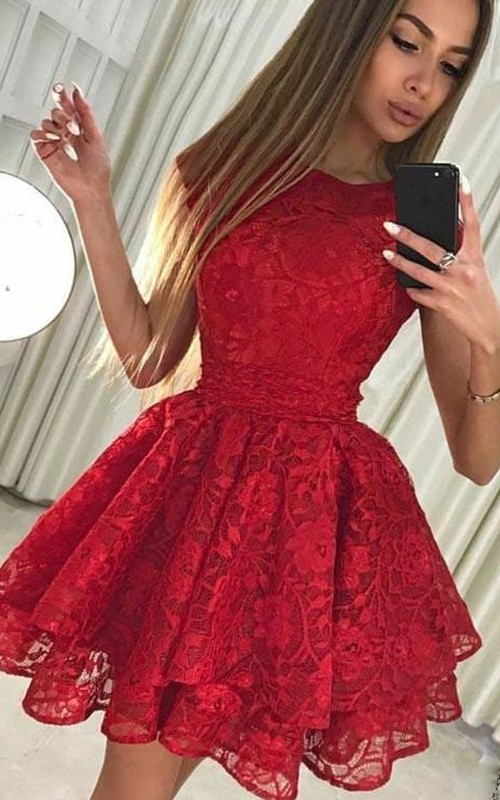 Jewel Lace Short Sleeve Short Homecoming Dress with Bow and Petals