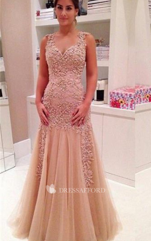 Trumpet Zipper Strapped Sleeveless Lace Delicate Dress