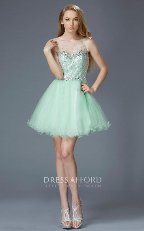 A-Line Illusion Sequined Short Mini Sleeveless Scoop-Neck Tulle Dress