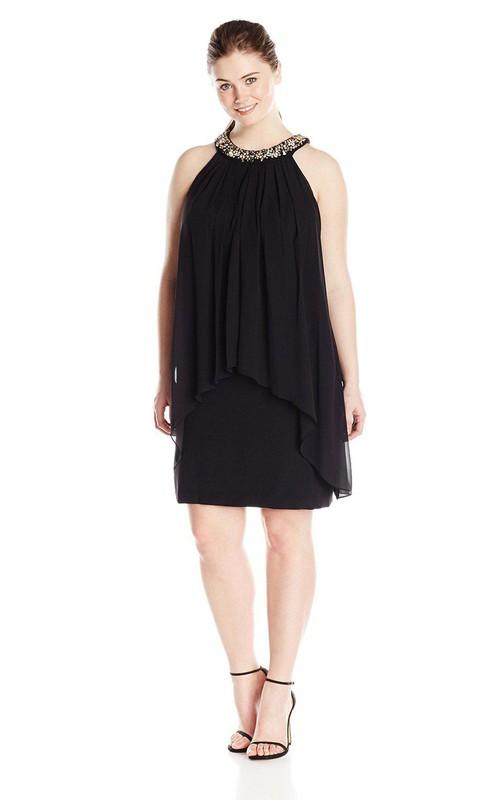 Sleeveless Chiffon short plus size Dress With Beaded neckline