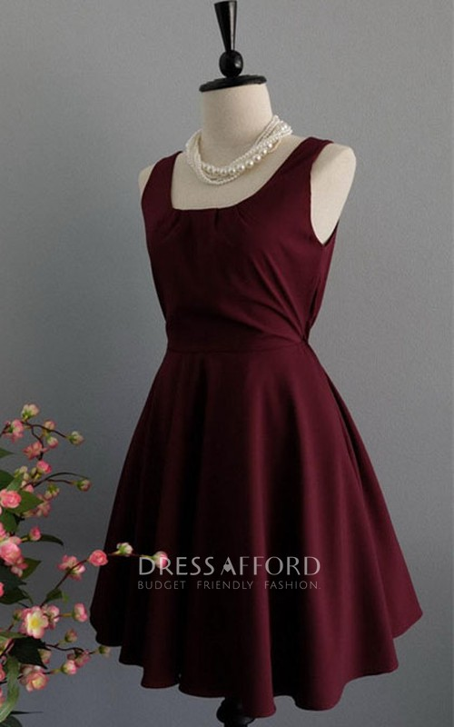 square-neck Sleeveless short Chiffon Dress With bow And Low-V Back