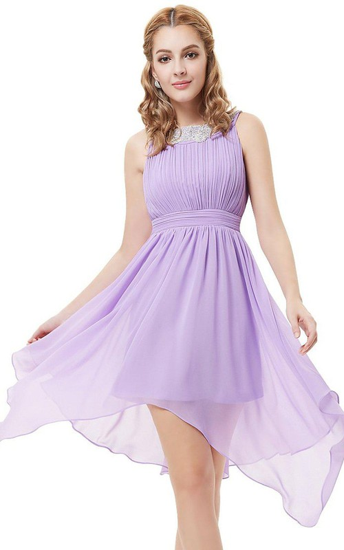 Asymmetrical Pleated A-Line Sleeveless Dress