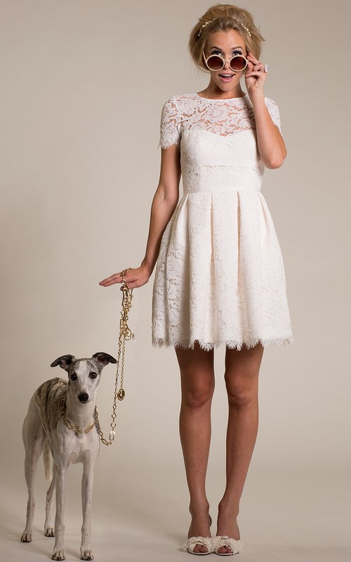 Scoop-neck Short Sleeve Lace Wedding Dress With Illusion