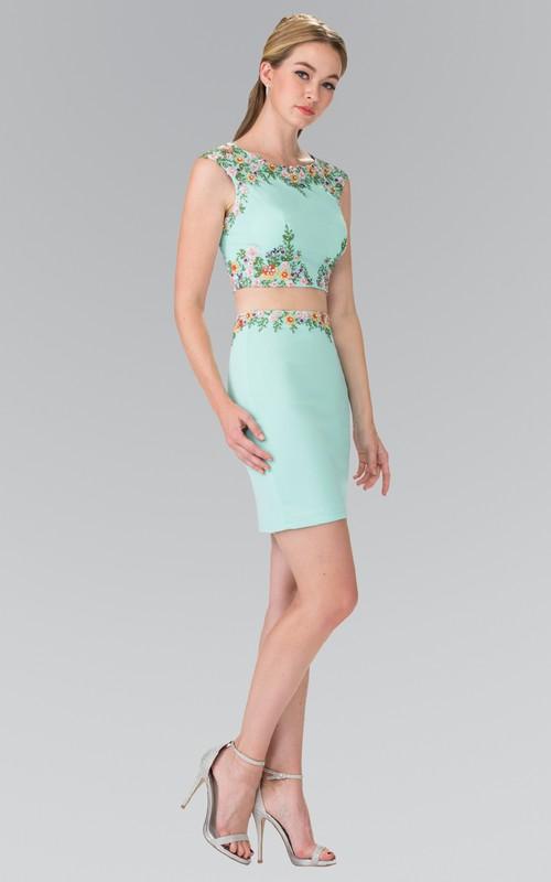 2-Piece Zipper Appliqued Pencil Mini Cap-Sleeve Bateau Jersey Dress