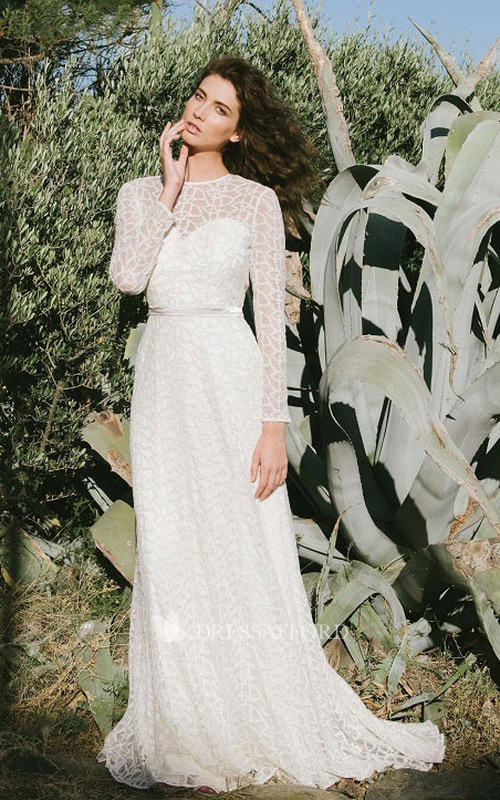 Adorable Lace Wedding Dress With Keyhole And Sweep/Brush Train