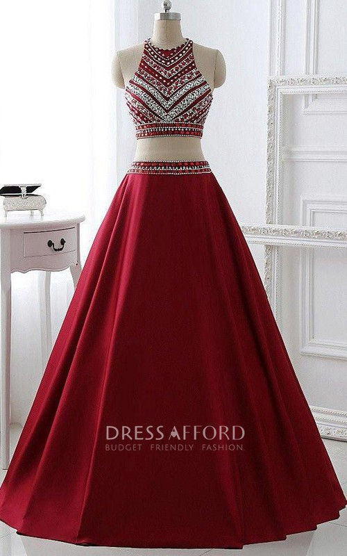 High Neck Satin Sleeveless Floor-length Beading Pleats Dress