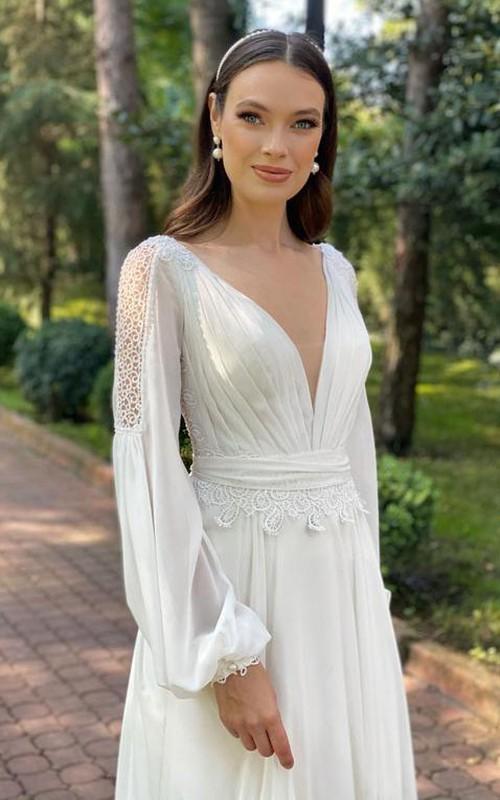 V-neck Chiffon Long Sleeve Court Train Open Back Illusion A Line Wedding Dress