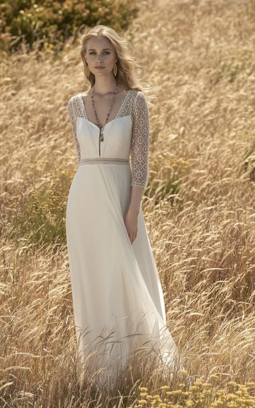 Elegant 3/4 Sleeve Chiffon Wedding Dress With Lace Top And Keyhole Back
